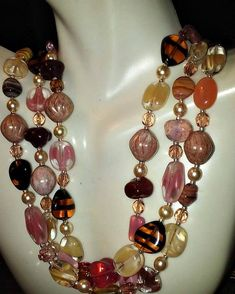 """Excited to share the latest addition to my #etsy shop: Pinky Promise Czech glass 3-strand necklace 20"""" by Audreygailjewelry http://etsy.me/2F8JSWe #jewelry #necklace #pink #brown #no #women #lobsterclaw #avantgarde #beadstore"""