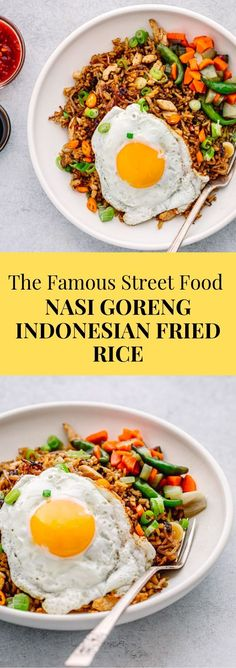 So tasty! You have to make this Indonesian fried rice recipe! Learn how to make this Authentic Nasi Goreng recipe without terasi. A traditional Indonesian fried rice seasoned with a fragrant homemade seasoning paste Seasoned Rice Recipes, Brown Rice Recipes, Indonesian Fried Rice Recipe, Indonesian Food, Indonesian Recipes, Side Dish Recipes, Asian Recipes, Veggie Rice Bowl, Asian Food Recipes