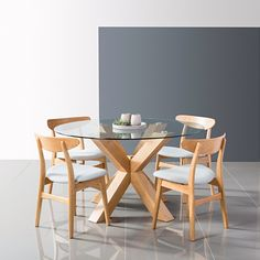 Oscar Round Dining Table - Glass + Solid Oak - 130cm Diameter - Icon By Design Unique Dining Tables, Dining Table Online, Glass Round Dining Table, Dining Table Design, Glass Table, Dining Room Table, Round Glass, Dining Sets, Wood Table