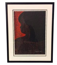 Large Listed Artist Kyoshi Saito Wood Block Print - Girl