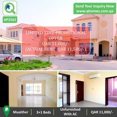 Promotional Offer: Villa for Rent in Muaither - Unfurnished (with ACs) 3+1 Beds Villa at QAR 11,000/-