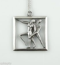 Vintage 1950s Margot de Taxco Sterling Silver DANCERS Pendant on Chain NECKLACE