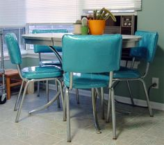 50 S Diner Table And Chairs Want To Reupholster Our In This Color