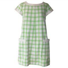 1960's Andre Courreges Cotton Gingham Print A-Line Dress