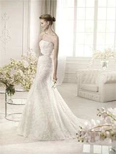 Mermaid Strapless Beadings Small Train Lace Tulle Wedding Dress WD1195