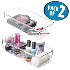 mDesign Textured Cosmetic Organizer Tray for Vanity Cabinet to Hold Makeup, Beauty Products - Pack of 2, Clear