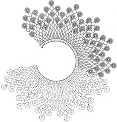Crocheted motif no. Crochet Collar Pattern, Col Crochet, Crochet Lace Edging, Crochet Diagram, Crochet Poncho, Crochet Chart, Irish Crochet, Crochet Doilies, Crochet Stitches
