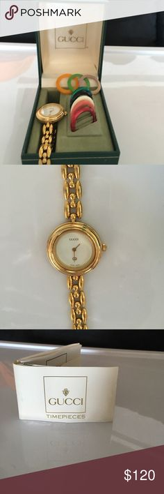 """Gucci gold tone chain watch 9 colored discs Like new in original box with papers and nine different colored discs u can change to match your mood or outfit.  Works perfectly. Worn once.  7"""" long Gucci Accessories Watches"""