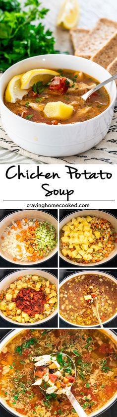 This Chicken Potato Soup that is super healthy, seriously delicious and really LOW calories! What else? It's also ready in only 30 minutes! Makes for a great lunch or dinner and freezes well. #soup #chickenpotatosoup #chicken #potatosoup
