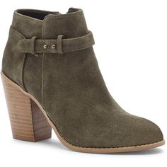Sole Society Lyriq Heeled Ankle Bootie ($100) ❤ liked on Polyvore featuring shoes, boots, ankle booties, khaki, chunky boots, sole society, chunky booties, block heel ankle boots and chunky ankle booties
