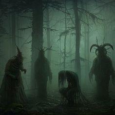 Dark Fantasy Art, Fantasy Artwork, Fantasy World, Dark Green Aesthetic, Witch Aesthetic, Dark Creatures, Fantasy Creatures, Imagenes Dark, Macabre Art