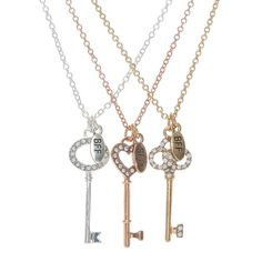 Set of 3 Best Friends Forever Key Charm Necklaces 3 Best Friends, Best Friends Forever, Best Friend Gifts, Gifts For Friends, Bff Necklaces, Best Friend Necklaces, Best Friend Jewelry, Cute Jewelry, Jewelry Accessories