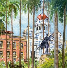 Plaza de Cayzedo - Serie Cali Bella. Acuarela ~ Gerardo Vejarano T.