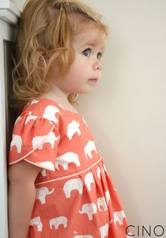 coral elephant dress - love the tulip sleeves