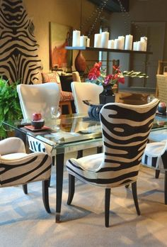Denmark Zebra chair set... These chairs are the truth!! Not Really Aunt Mode but definitely Lindsey's style.