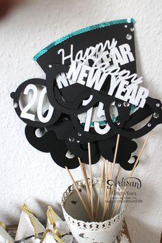 """""""Happy New Year 2015"""" - Stampin´ Up! Artisan DesignTeam BlogHop 01.01.2015 - Silvester-Deko mit viel Gold und Silber und Glitzerpapieren Detailbild1"""