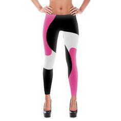 Swirled Black White and Pink Leggings