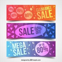 Banners de rebajas abstractos y de colores Vector Gratis