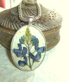 Texas Jewelry Bluebonnet Real Pressed Flower by GardenGemsJewelry, $27.95