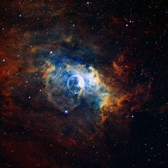 The bubble nebula is located 7,100 light-years from Earth in the constellation Cassiopeia.