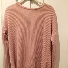 Pink brandy Melville sweater Light pink brandy Melville sweater fits M/L Brandy Melville Sweaters Crew & Scoop Necks
