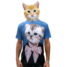 {Katie School Portrait Men's Tee} Beat Up Creations - this shirt + the cat-headed dude = awesome