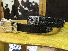 Rusty Spur Couture SSM Black Crystal Butterfly Concho Braided Leather Belt - 6101, ,