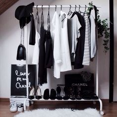 Black and white open closet.