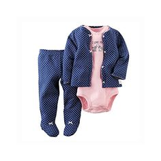 Carters Baby Girls 3 Piece Footed Set Baby  Navy  3M * See this great product.
