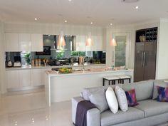 McDonald Jones Havana executive Open Plan Kitchen Living Room, Small Space Kitchen, Small Spaces, Family Kitchen, Grey Kitchens, Home Kitchens, Modern Kitchens, Kitchen Layout, Kitchen Design
