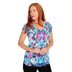 One World Mixed Media Short Sleeved Chiffon Trimmed Satin Neck Top