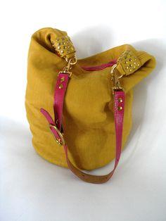 Ledertaschen - superweiche Ledertasche, Gelb / Pink, Handtasche - ein Designerstück von motten-helle bei DaWanda