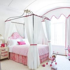 Anne Hepfer Designs - girl's rooms - white and pink girls room, white and pink girls bedroom, barrel ceiling, paneled ceiling, paneled barre...