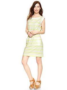 Striped slub cap-sleeve dress | Gap