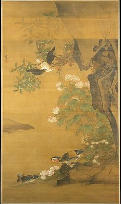 "Lü Ji (Chinese, active late 15th century). Mandarin ducks and cotton rose hibiscus. Ming dynasty (1368–1644), China. The Metropolitan Museum of Art, New York. Ex coll.: C. C. Wang Family, Gift of Oscar L. Tang Family, 2005 (2005.494.2)  | This work is exhibited in the ""Masterpieces of Chinese Painting from the Metropolitan Collection"" exhibition, on view through October 11, 2016."