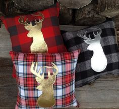 Deer Pillow, Decorative Pillow, Gifts Under 50, Nursery Decor, Gold Pillow, Throw Pillow, Woodland Pillow, Rustic Lodge, Holiday Pillow