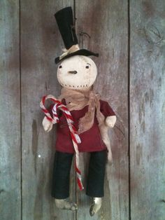 """Primitive 16"""" Snowman doll stovepipe Hat CANDY CANES HANDMADE CHRISTMAS ORNIE in Antiques, Primitives   eBay"""