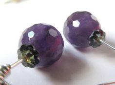 Amethyst Earrings Round Faceted Purple Amethyst Dangle