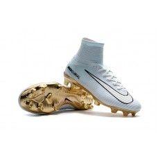 Coleccion De Botas De Futbol Nike Niños Mercurial Superfly CR7 Vitórias  Blanco Dorado 351387ec3b3