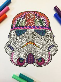 Storm Trooper Helmet - PDF Zentangle Coloring Page
