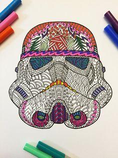 Storm Trooper Helmet PDF Zentangle Coloring Page por DJPenscript