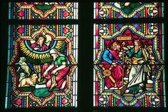 """""""Moisésen el monteSinaí"""" y """"Moisés ante el Faraón"""", Vitral, segunda mitad del siglo XIII, Gótico, Catedral de Colonia, Alemania"""
