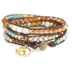 Brown and Turquoise Sundance with Vermeil Gold GOOD LUCK ELEPHANT leather wrap bracelet - I want this!