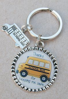 Bus Driver Keychain End of Year Gift Thank You Key Chain by KCowie