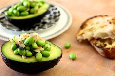 Edamame and Toasted Coconut in Avocado