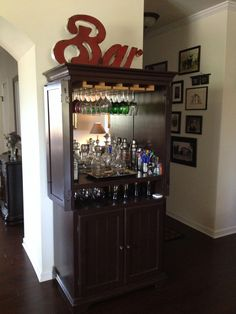 ^^Discover more about bar supplies. Check the webpage to learn more****** Viewing the website is worth your time. Furniture Makeover, Diy Furniture, Armoire Makeover, Armoire Bar, Craft Armoire, Home Bar Areas, Wooden Bar Stools, Bar Cart Decor, Diy Bar