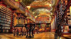 The World's Most Beautiful Library Is In Prague, Czech Republic The Klementinum library, a beautiful example of Baroque architecture, was first opened in 1722 as part of the Jesuit university, and houses over books. Architecture Baroque, Building Architecture, Modern Architecture, Beautiful Library, Dream Library, Magical Library, Grand Library, Future Library, City Library