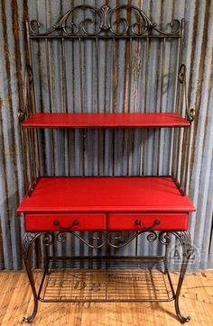 Red Painted Hutch, Websters Chalk Paint Powder and Benjamin Moore Paint by A to Z Custom Creations
