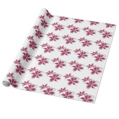 "Stargazer Lillies Wrapping Paper  $20.95 per roll Artwork designed by karlajkitty. Made by Zazzle Home  Painted stargazer lilies in pinks and reds on a white background.  Choose from 4 types of paper and 5 sizes.  Click on the ""Customize it!"" button for more options.  Artwork and design buy Karlajkitty"