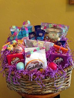 Our daughters easter basket college style laundry basket filled our daughters easter basket college style laundry basket filled with food to stock her pantry complete with mommas recipes tied to the basket negle Choice Image